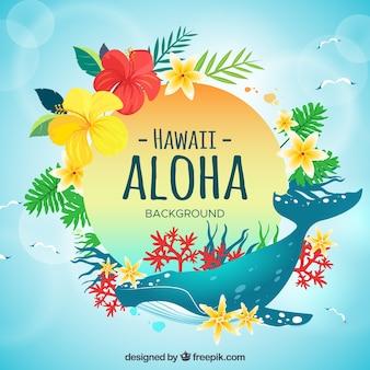 Fondo aloha con ballena