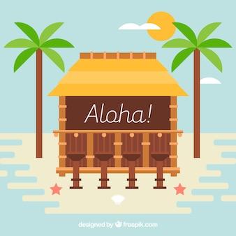 Fondo de aloha con cabaña y palmeras