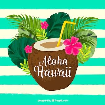 Fondo aloha con coco en acuarela