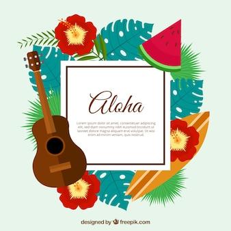 Fondo aloha colorido de diseño plano