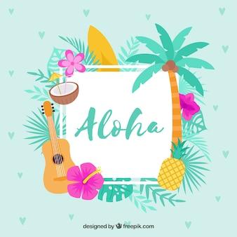 Fondo aloha con fondo azul de diseño plano