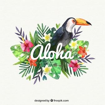 Fondo aloha con pelicano en acuarela