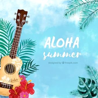 Fondo aloha con ukelele en acuarela