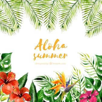 Fondo aloha verano con plantas y flores en acuarela