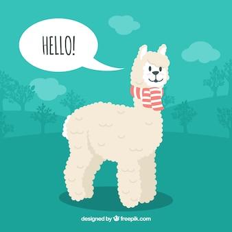 Fondo de alpaca con burbuja de texto