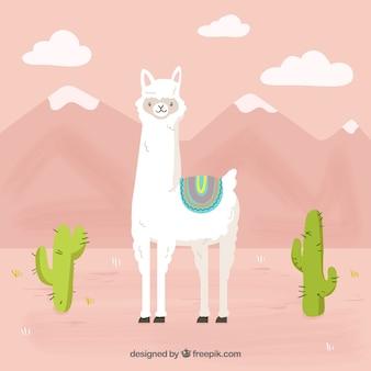 Fondo de alpaca gracioso en montañas