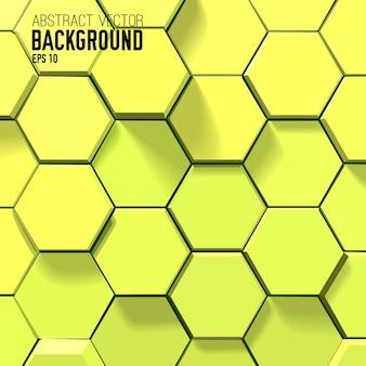 Fondo amarillo abstracto con hexágonos geométricos
