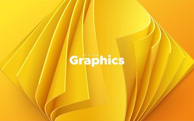 Fondo amarillo abstracto con hojas de papel rizadas