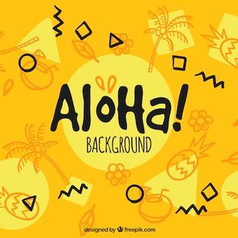 Fondo amarillo de aloha con bocetos de frutas y palmeras