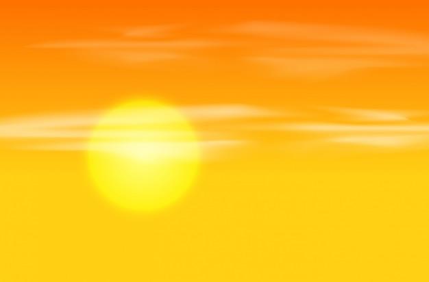 Fondo amarillo anaranjado de la puesta del sol