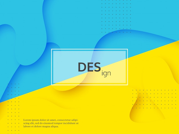 Fondo amarillo y azul abstracto líquido.
