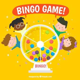 Fondo amarillo de bingo con niños