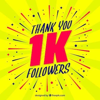 Fondo amarillo de celebración de mil seguidores