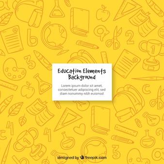 Fondo amarillo de elementos de educación