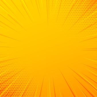 Fondo amarillo de líneas de zoom cómico