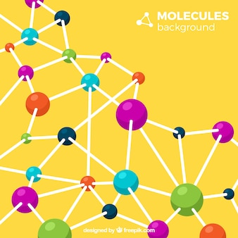 Fondo amarillo de moléculas de colores