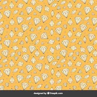 Fondo amarillo de diamantes dibujados a mano