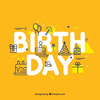 Fondo amarillo con elementos lineales de cumpleaños