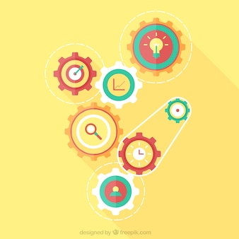 Fondo amarillo con engranajes en diseño plano