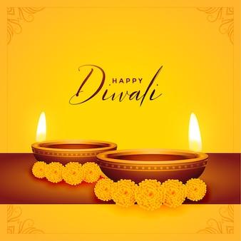 Fondo amarillo feliz diwali con diya y flor