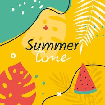 Fondo amarillo del horario de verano