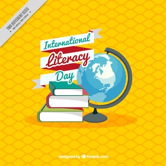 Fondo amarillo con libros y mundo para el día internacional de la alfabetización