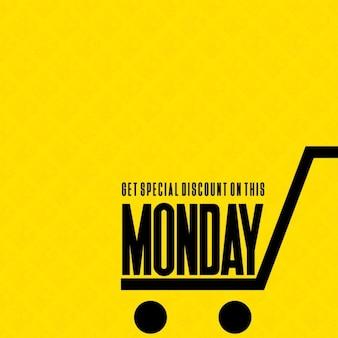 Fondo amarillo, lunes cibernético, carrito