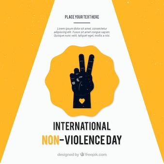 Fondo amarillo de mano simbolizando la paz
