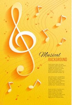 Fondo amarillo con notas musicales y clave.