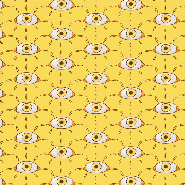 Fondo amarillo con ojos dibujados a mano