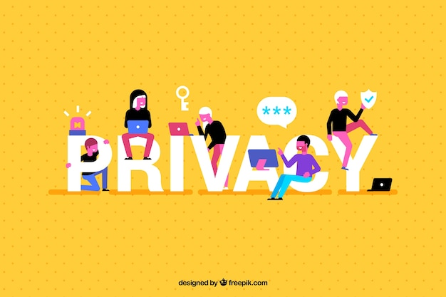 Fondo amarillo con palabra de privacidad y gente divertida