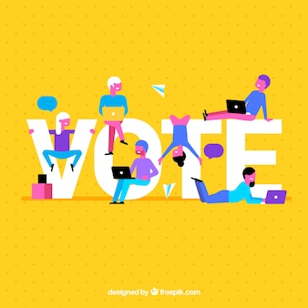 Fondo amarillo con palabra de voto
