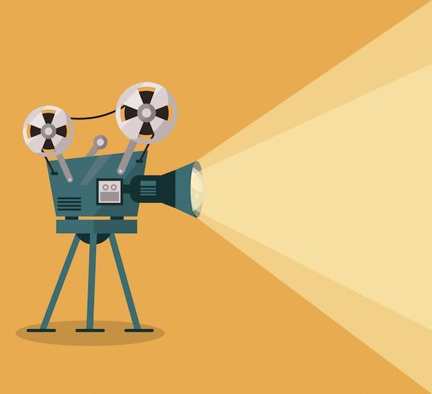 Fondo amarillo con proyector de películas
