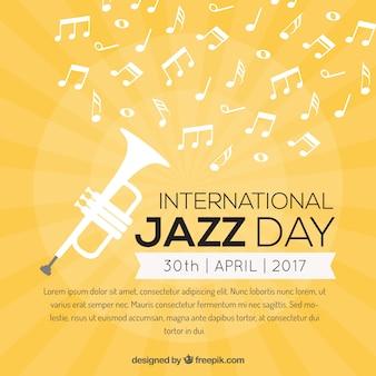 Fondo amarillo con trompeta y notas musicales