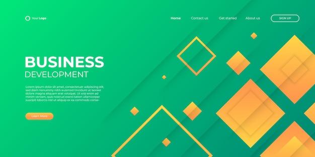 Fondo amarillo verde abstracto para la página de inicio de negocios con forma moderna y concepto de tecnología simple. plantilla de ilustración de vector de bloque de página de destino de diseño web corporativo.
