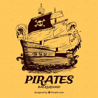 Fondo amarillo vintage de barco pirata dibujado a mano