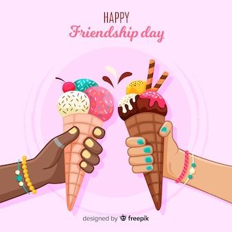 Fondo de amistad día dibujado a mano estilo