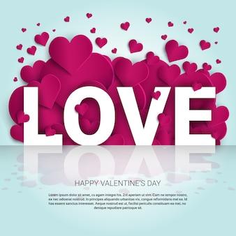 Fondo de amor con banner de plantilla de formas de corazón rosa con espacio de copia