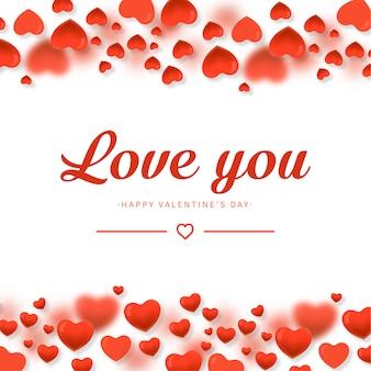 Fondo de amor con composición de corazones.