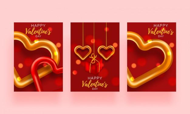 Fondo de amor conjunto folleto. tarjeta de póster de regalo. plantilla de banner de venta para el día de san valentín. banner con corazones y regalos.