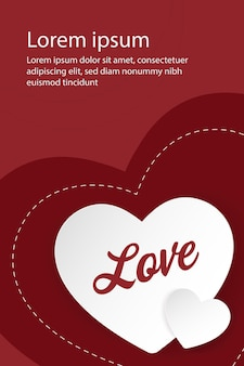 Fondo de amor de corazones. diseño de banner de vector