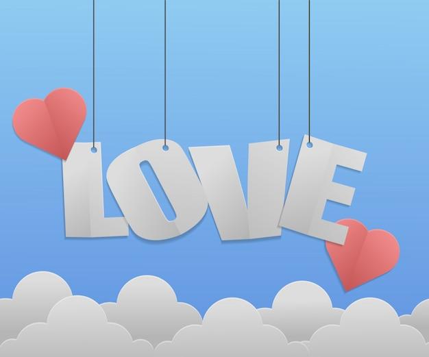 Fondo de amor con estilo papercut.