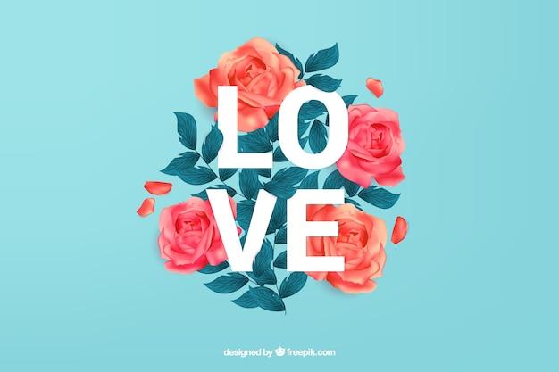 Fondo de amor con hermosas rosas