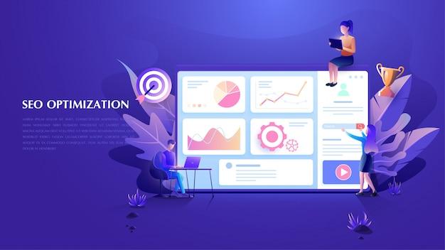 Fondo de análisis seo y marketing en línea