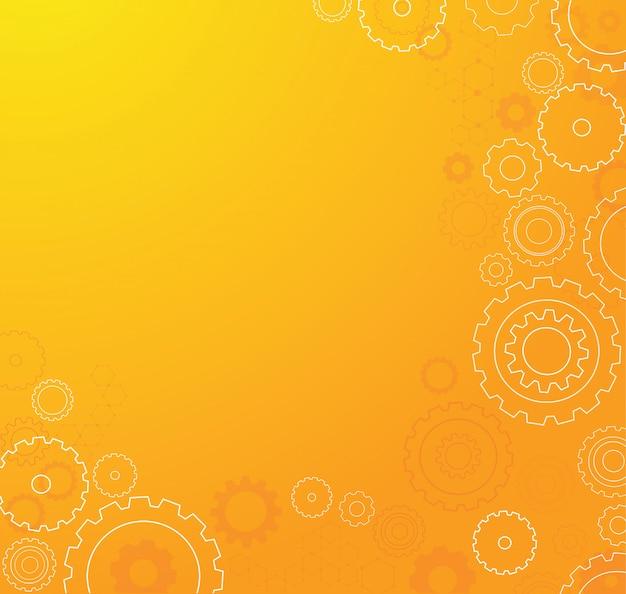 Fondo anaranjado abstracto de la rueda de los dientes