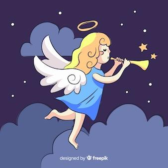 Fondo ángel músico navidad