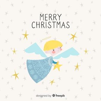 Fondo ángel navidad dibujado a mano