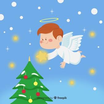 Fondo de ángel de navidad dibujado a mano