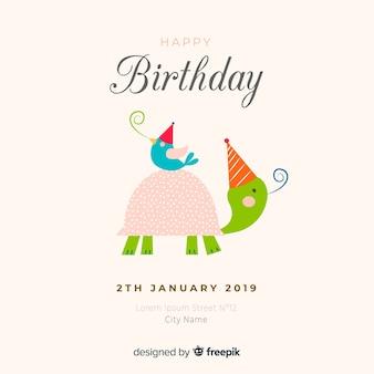 Fondo de animal de cumpleaños dibujado a mano