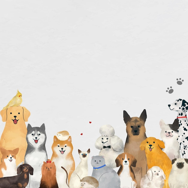 Fondo animal con ilustración de mascotas lindas